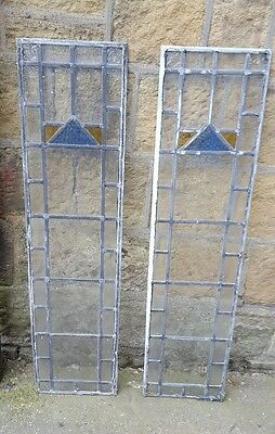 2 x Old piece of stained glass ideal for putting into a door