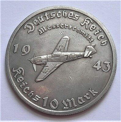 Ww2 1943 Adolf Hitler German Exonumia  10 Reichsmark Silvered Coin Messerschmitt