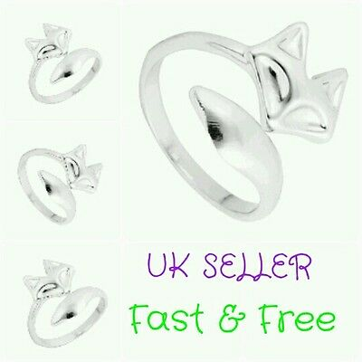 Sterling Silver Plated Fox Wrap Ring Adjustable Thumb Finger Cute Animal Gifts