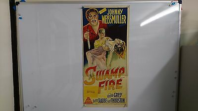 Swamp Fire Original Daybill Movie Film Poster Johnny Weismuller 1946 Rare