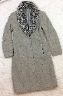 Topshop Womens UK Size 10 Long Tweed Faux Fur Collar Gray Jacket Coat Lined