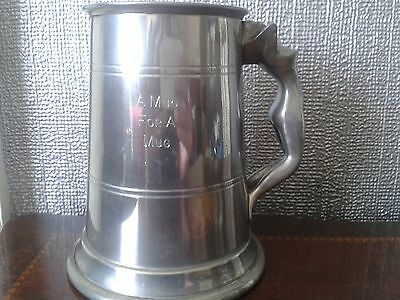 Vintage Sheffield nude nymph pewter pint tankard