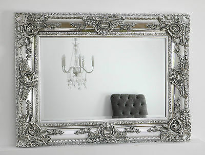 "Ella Platinum Silver Ornate Rectangle Vintage Wall Mirror 47"" x 35"" X Large"