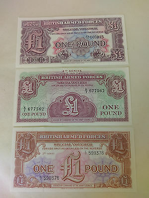 BRITISH ARMED FORCES £1 Pound notes x 3 different designs 2nd 3rd 4th series