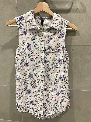 H&M Floral Sleeveless Blouse Shirt Top Size 8