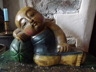 Hand Carved Wooden Figure Of The Resting Buddha