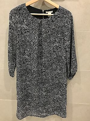 H&M Black And White Patterned Work Dress Long Sleeve Lined Size 8 New