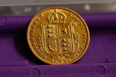 Gold Half Sovereign Shield back - Dated 1892 #3
