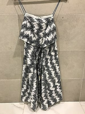 Country Road Black And White Patterned Silk Dress