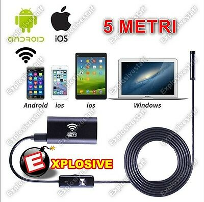 Endoscopio Wireless Wifi Per Ios Iphone Android 5 Mt Telecamera Ispezione 720P