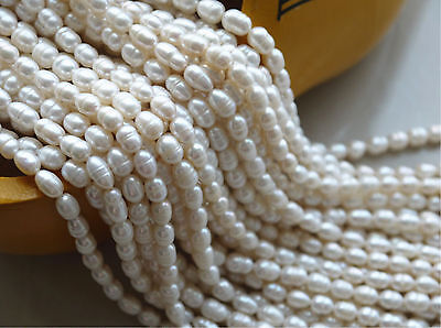 """Natural 4-5mm Bullet Freshwater Pearl Jewelry Making loose gemstone beads 14"""""""