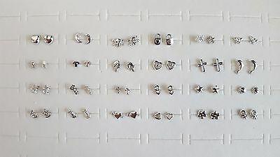 TINY 3mm Plastic Silver Shape Hypo-Allergenic Stud Earrings *See Special Offer*
