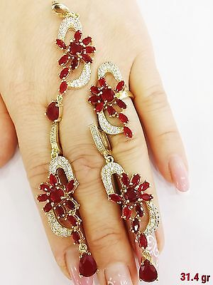 925 Silver Handcraft Jewelry Africa Red Ruby Earrings & Ring,pendant Sets
