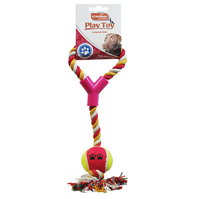 Rope Throw And Ball Dog Toy Chew Puppy Play Tug Pet Exercise Braided Knot UK