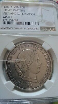 Isabel Ii 20 Reales Silver Pattern 186X Spain  Ngc Ms61 Unc Rare