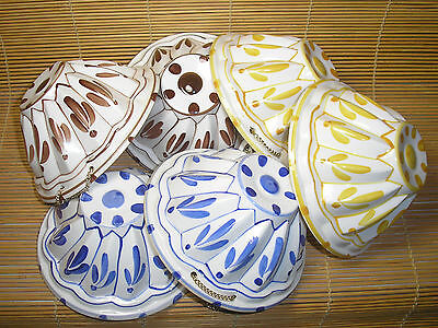 6 Vintage Hand Painted Ceramic Jello Molds Blue Yellow Brown Made in Japan