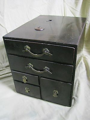 Antique Japanese Black Lacquered Wood Tansu Box/chest With Five Drawers