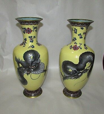 Pair Antique Japanese Cloisonne Vases Imperial Wellow with Dragons