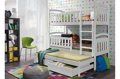 Charlie Triple Trundle Wooden Bunk Bed with Mattresses & Storage NEW Free P&P