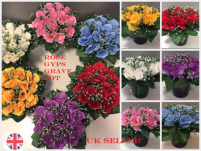 Memorial grave pots artificial silk flower arrangement funeral (Rose GYPS)