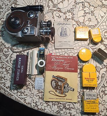 Vintage Revere Eight 8 Model Sixty Movie Camera 1940s IW/Box Book Extras  8mm