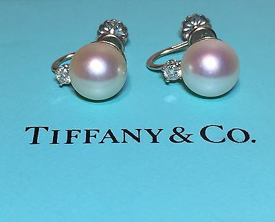 Rare Vintage Tiffany & Co 9mm Pearl & .15tcw Diamond 14K White Gold Earrings