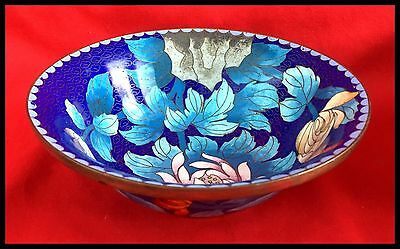 Antique Chinese Cloisonne Enamel Lotus Flowers And Butterflies Bowl