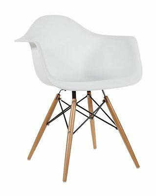Set of 2 White - Eames Style Armchair with Natural Wood Legs Eiffel Dining Room