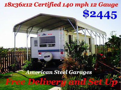 18x36x12 CERTIFIED RV COVER 140 MPH 12 GAUGE FREE DELIVERY AND SET UP