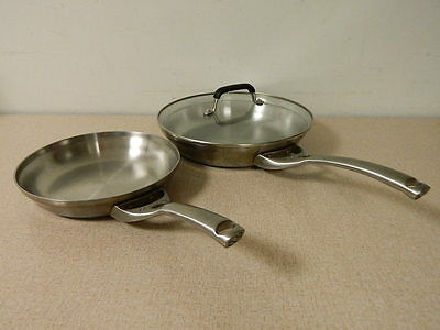"Calphalon Stainless Steel 8"" & 10"" Omelet Frying Pan Set & Glass Lid"