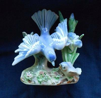 Vintage Porcelain Bluebird Figurine Mother And Baby