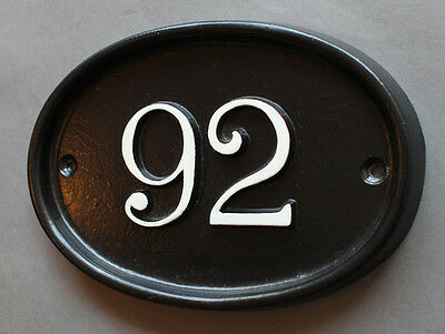 Personalised Cast House Number Sign Black Antique Vintage Door Plaque Plate NP01