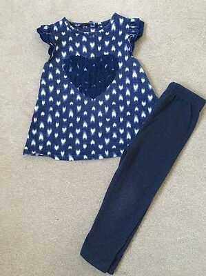 George Baby Girl Short Sleeve Top & Leggings Outfit Age 18-24 Months - Blue