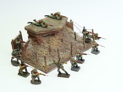 Large set of paper wood composite bunker toy soldiers Military vintage antique