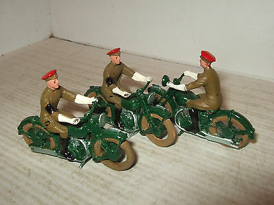 Model miniatures, x3 Royal Military Policemen (RMP) on Motorcycles in 54mm