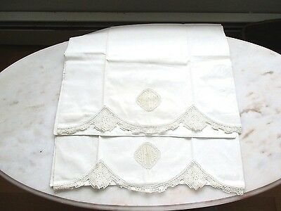 Antique Pillowcases Crochet Insert And Edge Heavy Cotton New/old
