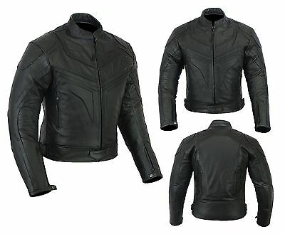 Mens Motorcycle Motorbike Jacket Leather Black CE Armoured