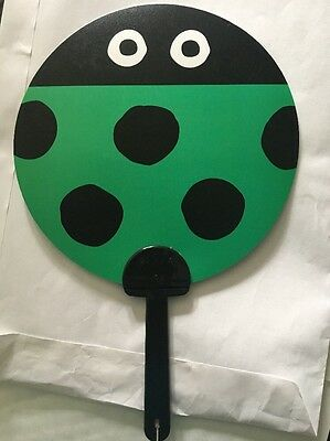 Plastic Green ladybird Hand Fan Printed On Both Sides With Black Plastic Handle