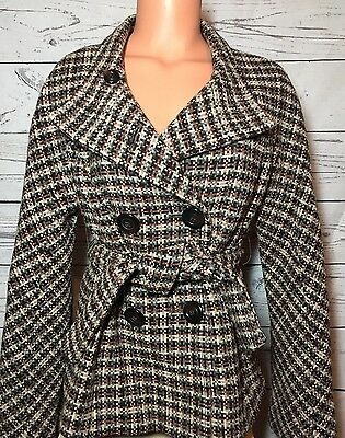 The Limited Women's Brown Wool Peacoat Sz M Coat Jacket Plaid