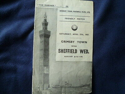 Grimsby Town v Sheffield Wednesday April 1957 friendly