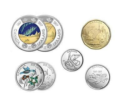 """2017 Canada """"150"""" **7 x Circulation Coins from Mint Rolls - BONUS Color Coins"""""""""""