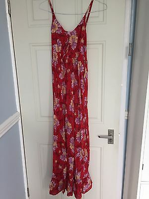 Floral summer red maxi-length maternity dress, 100% cotton, size 8