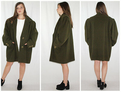 Vintage 70´s WOOL LODEN-COAT boxy fit ULTRA GATHERED SLEVEES made in Spain OLIVE