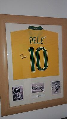 Signed Brazil No 10 Pele Shirt, Framed Display with COA NEW LOWER PRICE