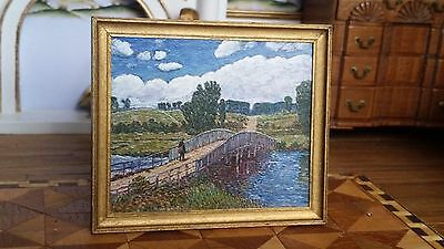Artisan Paul Saltarelli Miniature Painting, The Bridge at Old Lyme Dollhouse