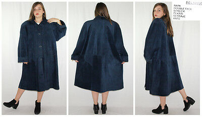 Vintage 80´s fur coat NAPA+DOUBLEFACE+NUBUCK maxi RICH SAPPHIRE made in Spain