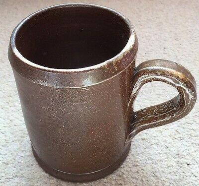 Antique brown, pint capacity, salt glaze stoneware Tankard.