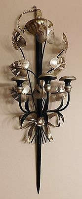 Vintage 50s Italian Tole Black Silver Sword Leaves Wall Sconce Candle Holder
