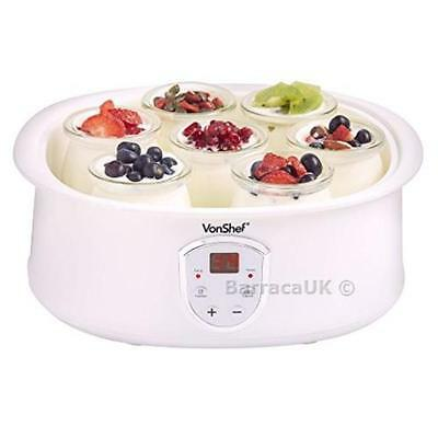 NEW VonShef Automatic Digital Yoghurt Maker with LCD Display Screen and ...