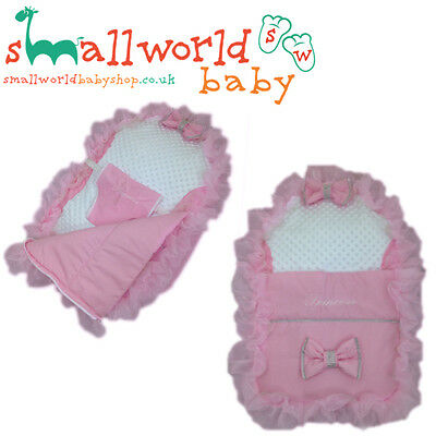 Personalised Pink Frilly Bling Baby Bean Bag Sleep Pod (NEXT DAY DISPATCH)
